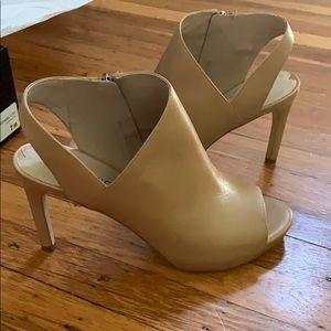 Via Spiga open toed high heel booties